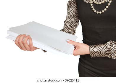 businesswoman holding documents for review