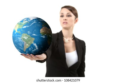 businesswoman holding earth