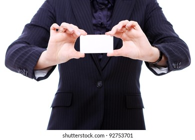 Businesswoman holding empty bussines card in her hands