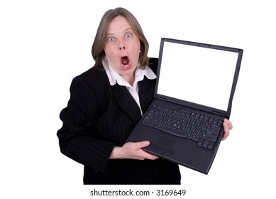 Businesswoman holding a laptop with a funny expression isolated over white with a clipping path