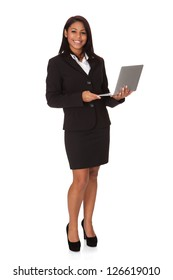 Businesswoman Holding Laptop. Isolated on white background