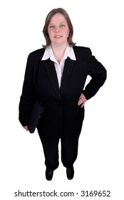 Businesswoman holding a laptop isolated over white with a clipping path