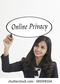 businesswoman holding a marker pen writing -online privacy