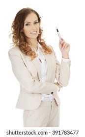 Businesswoman holding a pen.
