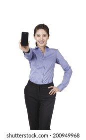 Businesswoman holding a smart-phone