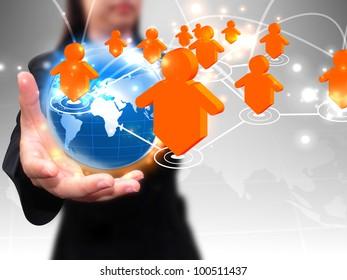 Businesswoman holding social network