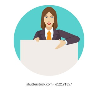 Businesswoman holding white blank poster and showing blank signboard.  Portrait of businesswoman in a flat style. Raster illustration.