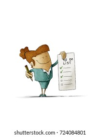 businesswoman holds in his hand a to-do list and in the other hand a pencil. Isolated, white background.
