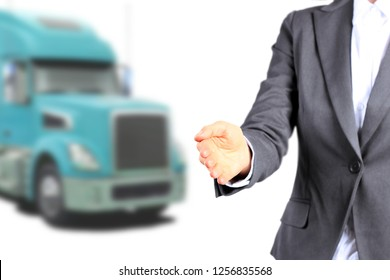 Businesswoman  inviting  new drivers to the truck company