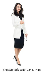 Businesswoman isolated  on a white background shaking hand with glasses