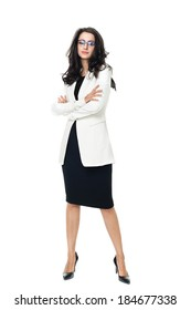 Businesswoman isolated  on a white background with glasses