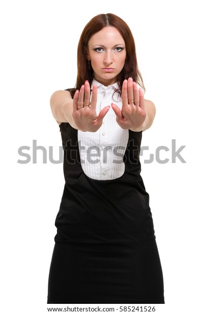 Businesswoman isolated on white background. Young business woman standing looking at camera