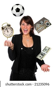 Businesswoman juggling responsibilities