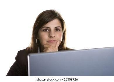 businesswoman with laptop computer isolated on white background - focus on the woman