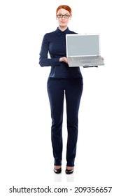 Businesswoman with laptop isolated on a white background.Concept of leadership and success.