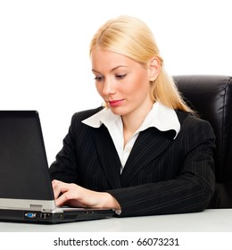 Businesswoman with laptop, isolated on white