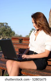 Businesswoman with laptop at nature