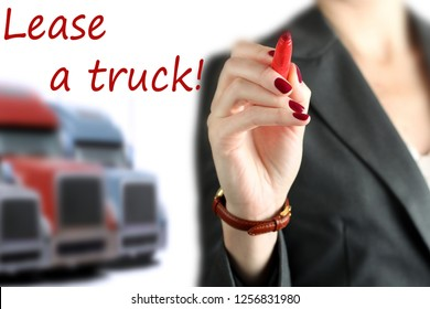 Businesswoman leasing a new truck to driver / company