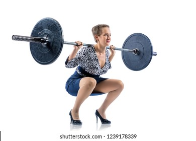 Businesswoman lifts up heavy barbell. Isolated on white photo for business financial strength concept.