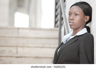 Businesswoman looking away from the camera