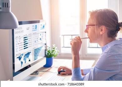 Empresaria que observa el tablero de mandos de análisis de negocios (BA) o inteligencia (BI) en la pantalla del equipo con el informe estadístico de datos de ventas e indicadores clave de rendimiento (KPI)