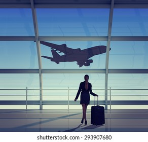 Businesswoman with luggage looking at jet, back view. Interior view