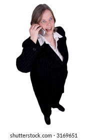 Businesswoman making a cell phone call isolated over white with a clipping path