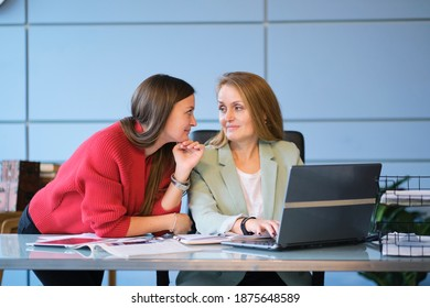 businesswoman manager mentor speaking to client. business office meeting sit at table. colleagues are discussing a difficult problem. the concept of career prospects for the younger generation