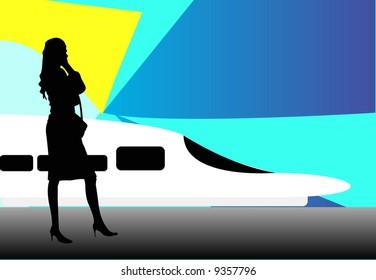 businesswoman next to bullet train