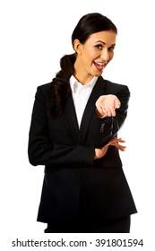 Businesswoman offering teamwork