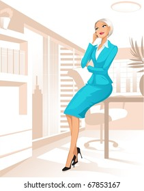 Businesswoman at office talking by telephone