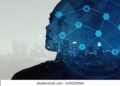 Businesswoman on abstract night city background with digital business interface. Artificial intelligence concept. Double exposure