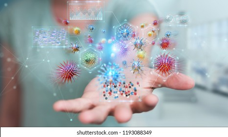 Businesswoman on blurred background analyzing bacteria microscopic close-up 3D rendering