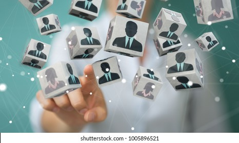 Businesswoman on blurred background choosing candidate for a job 3D rendering