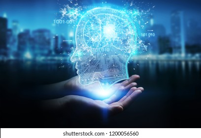 Businesswoman on blurred background creating artificial intelligence 3D rendering