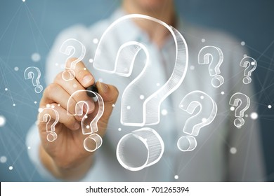 Businesswoman on blurred background drawing hand drawn question marks