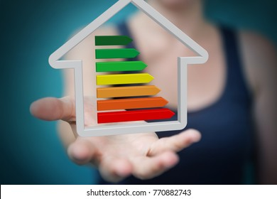 Businesswoman on blurred background eco house concept 3D rendering