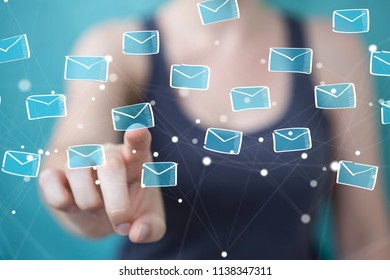 Businesswoman on blurred background holding and touching floating emails sketch
