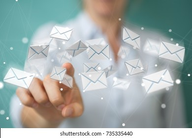 Businesswoman on blurred background holding and touching 3D rendering flying email