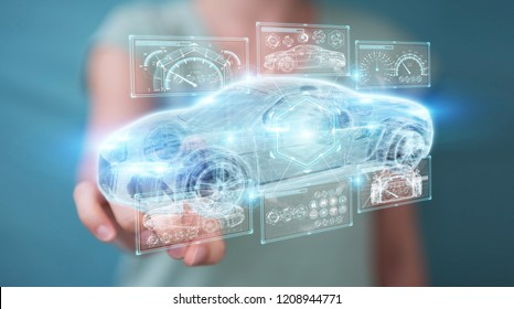 Businesswoman on blurred background modern smart car interface 3D rendering