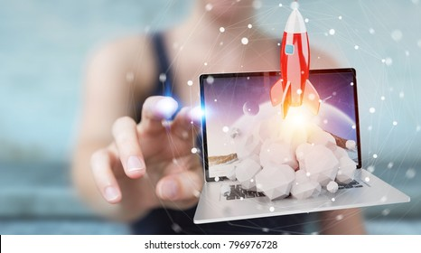 Businesswoman on blurred background with rocket launching from a laptop 3D rendering