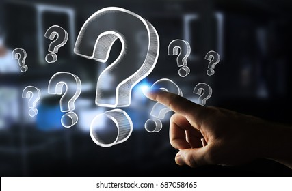 Businesswoman on blurred background touching hand drawn question marks