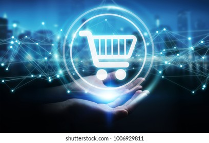 Businesswoman on blurred background using digital shopping icons with connections 3D rendering