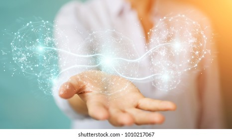 Businesswoman on blurred background using digital network connection sphere 3D rendering