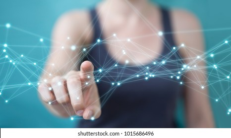 Businesswoman on blurred background using flying network connection 3D rendering