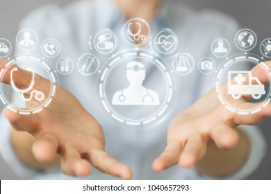 Businesswoman on blurred background using digital medical interface 3D rendering