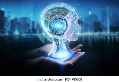 Businesswoman on blurred background using digital artificial intelligence interface 3D rendering