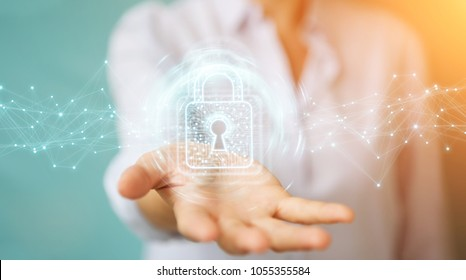 Businesswoman on blurred background using digital padlock with data protection 3D rendering