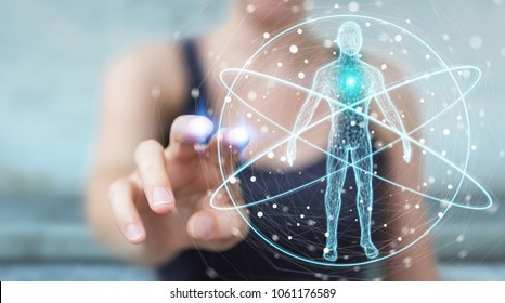 Businesswoman on blurred background using digital x-ray human body scan interface 3D rendering
