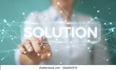 Businesswoman on blurred background using solution digital text 3D rendering